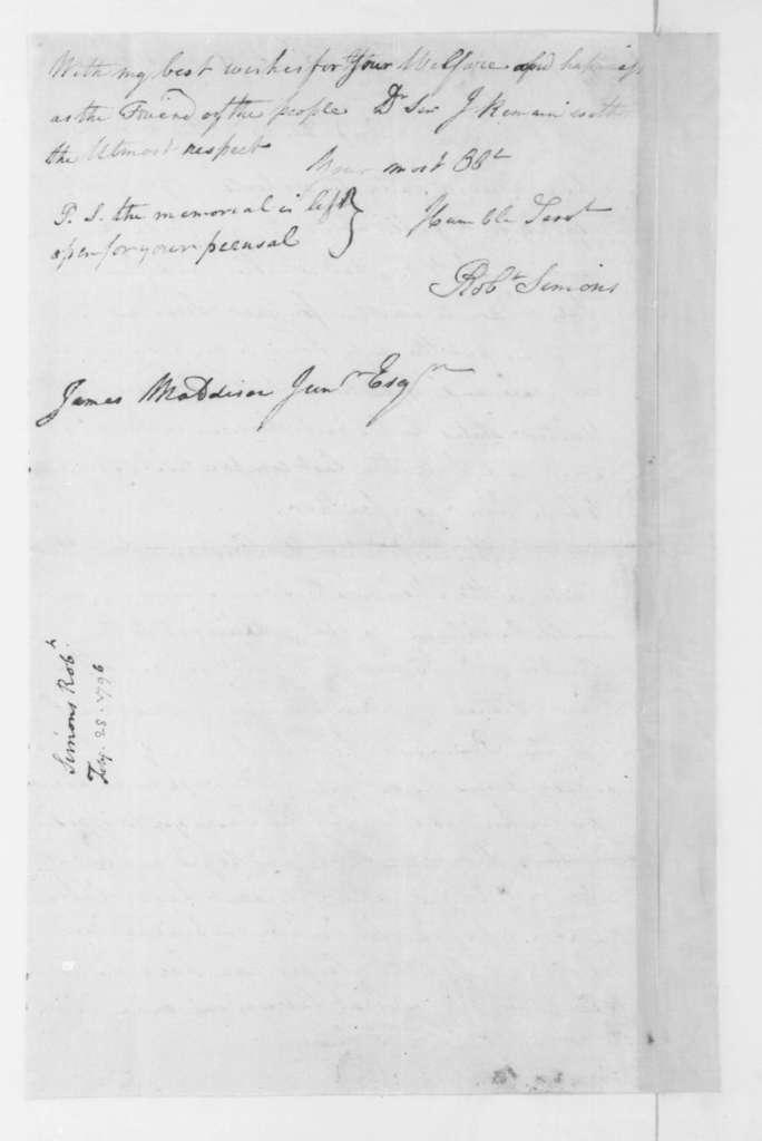 Robert Simons to James Madison, February 28, 1796.