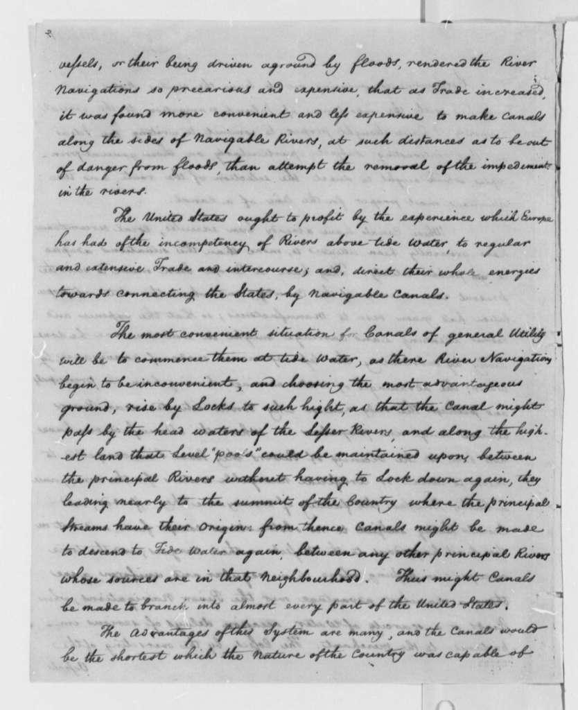 Rufus King, July 1796, Inland Canal Navigation