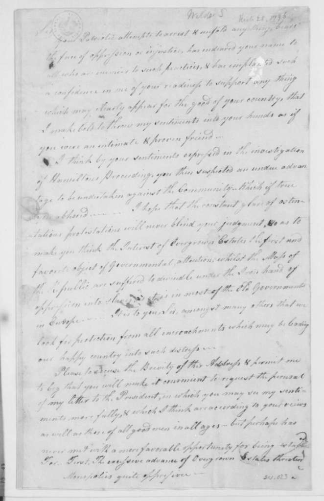 Samuel Wilds to James Madison, March 28, 1796.