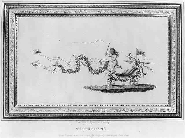 [Sentimental scene of cherub driving bird-drawn shell chariot]