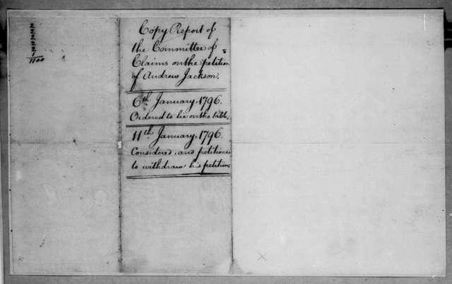 Southwestern Territory Claims Com, January 6, 1796