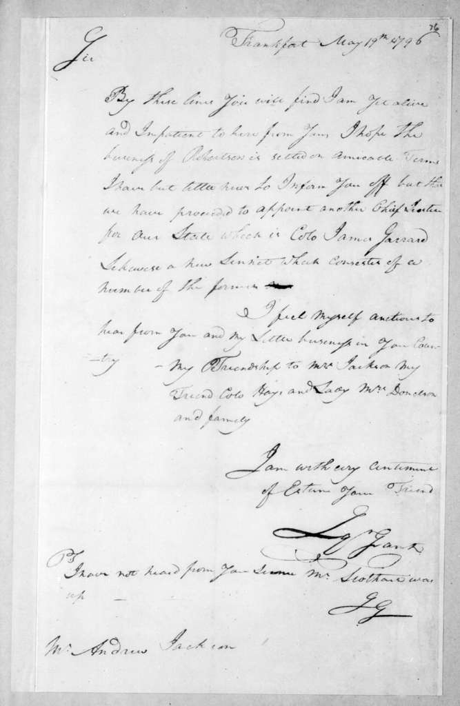 Squire Grant to Andrew Jackson, May 19, 1796