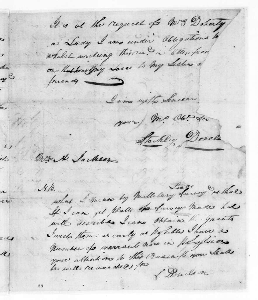 Stockley Donelson to Andrew Jackson, June 16, 1796
