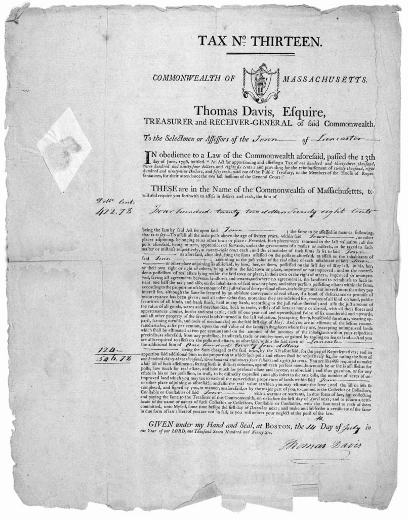 Tax No. thirteen. Commonwealth of Massachusetts. Thomas Davis, Esquire, Treasurer and Receiver-general of said Commonwealth. To the selectmen or assessors of the of ... Given under my hand and seal, at Boston, the day of in the year of our Lord,