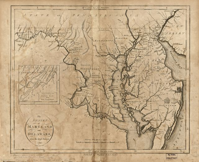 The states of Maryland and Delaware, from the latest surveys, 1795.