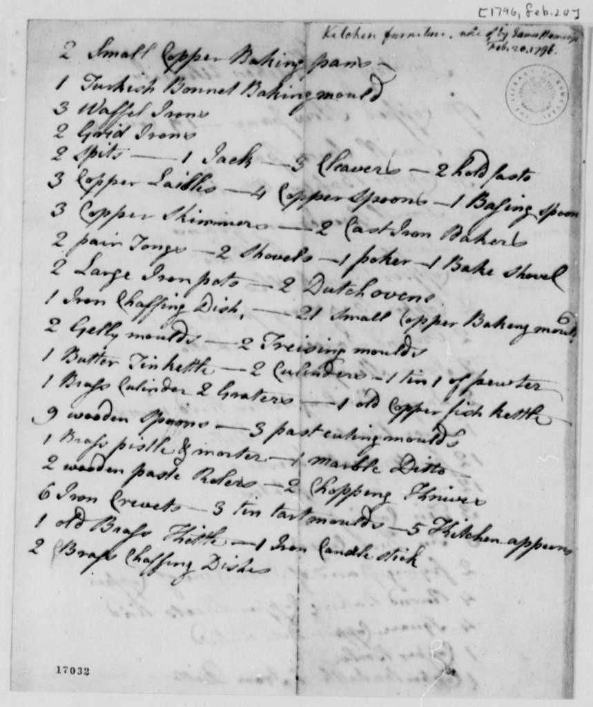 Thomas Jefferson, February 20, 1796, Kitchen Furniture Inventory