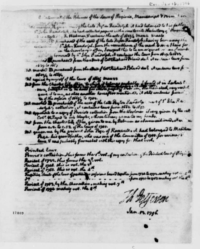 Thomas Jefferson, January 13, 1796, Virginia Laws with Copy