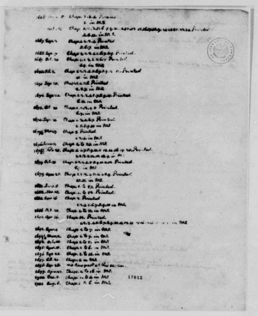 Thomas Jefferson, January 1796, Virginia Assembly Acts
