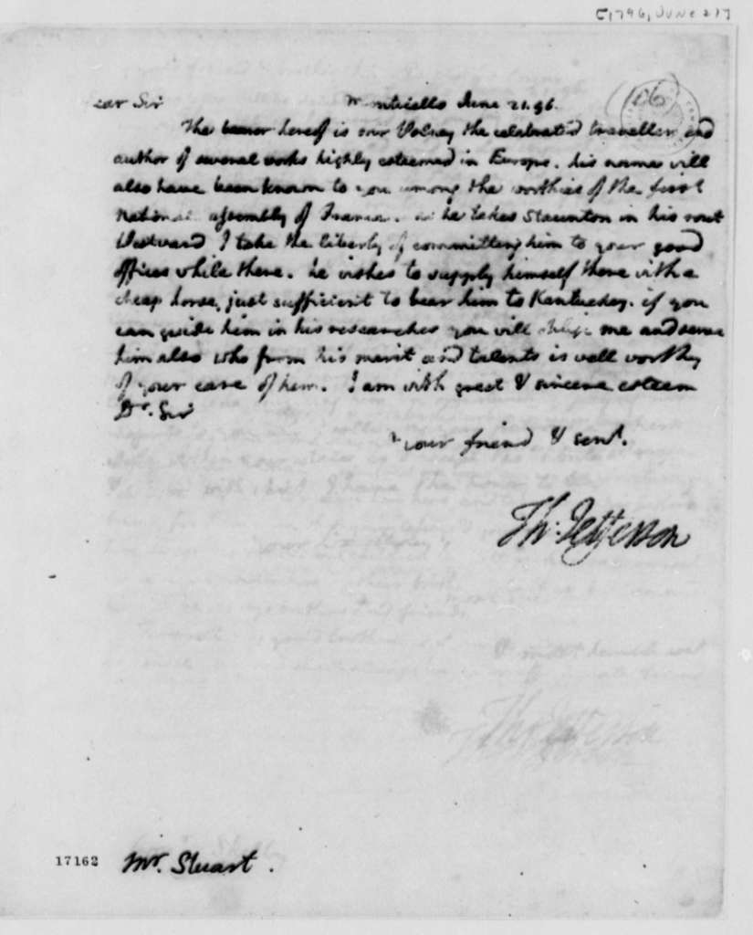 Thomas Jefferson to Archibald Stuart, June 21, 1796