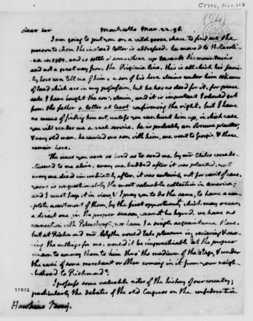 Thomas Jefferson to Benjamin Hawkins, March 22, 1796
