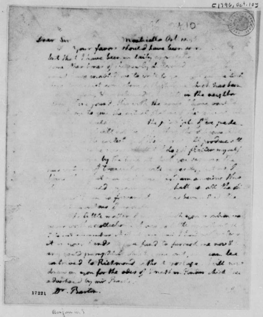 Thomas Jefferson to Benjamin Smith Barton, October 10, 1796, Partly Illegible