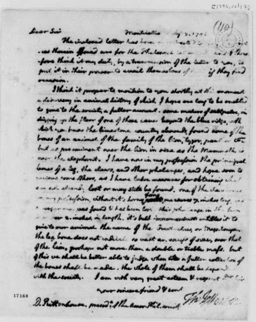 Thomas Jefferson to David Rittenhouse, July 3, 1796