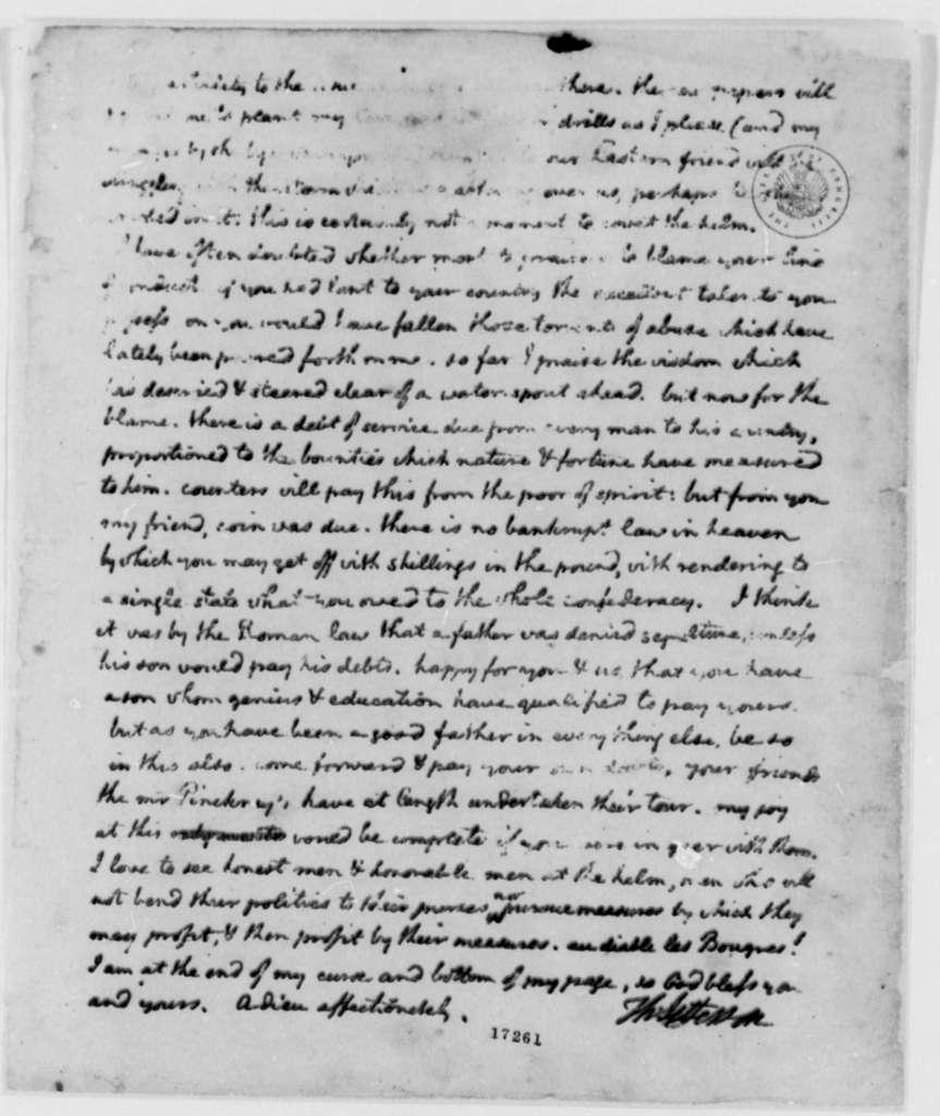 Thomas Jefferson to Edward Rutledge, December 27, 1796