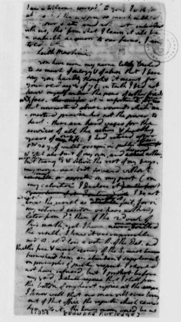 Thomas Jefferson to Edward Rutledge, December 27, 1796, Draft