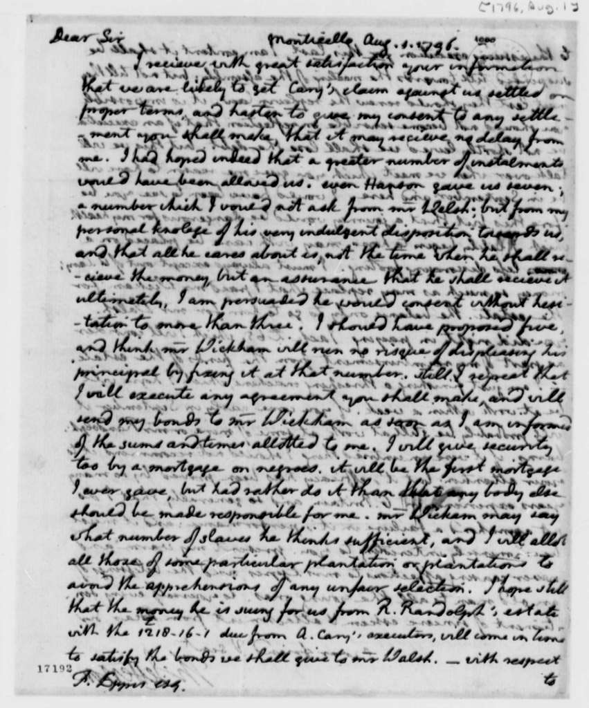Thomas Jefferson to Francis Eppes, August 1, 1796