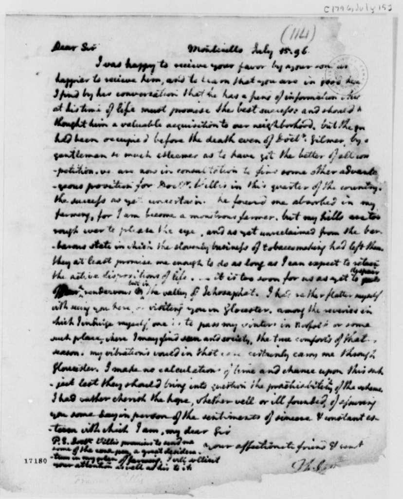 Thomas Jefferson to Francis Willis, July 15, 1796