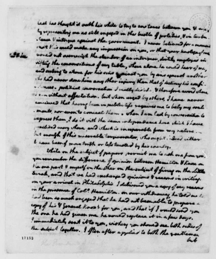 Thomas Jefferson to George Washington, June 19, 1796