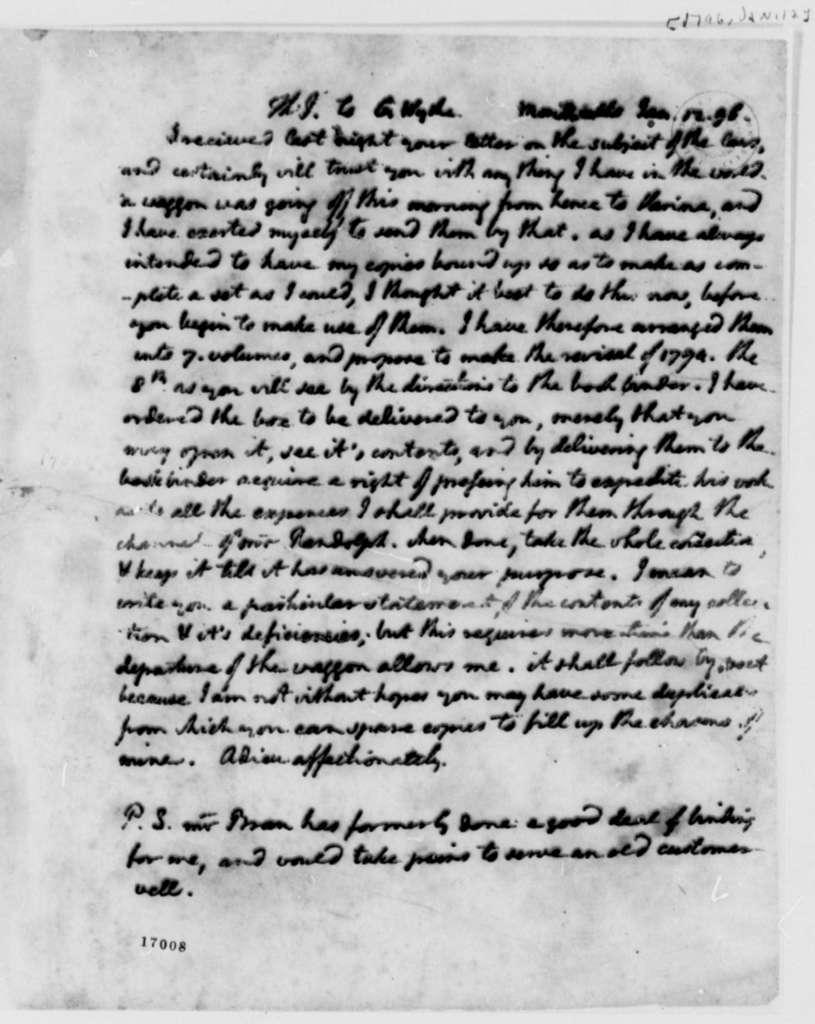 Thomas Jefferson to George Wythe, January 12, 1796