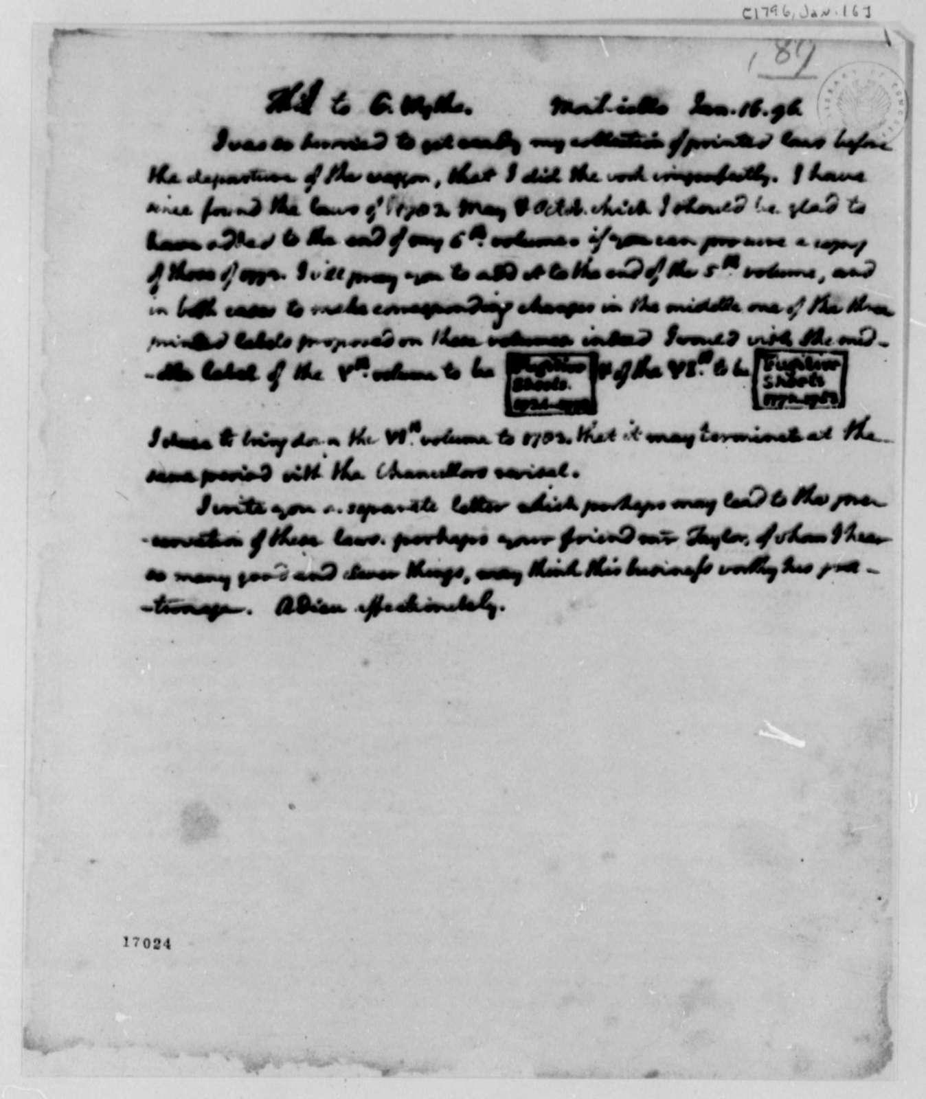 Thomas Jefferson to George Wythe, January 16, 1796