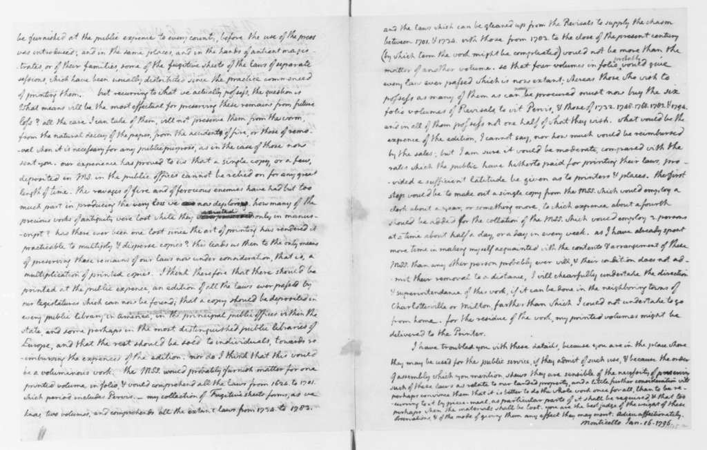 Thomas Jefferson to George Wythe, January 16, 1796. List of Volumes of the Laws of VA Library.