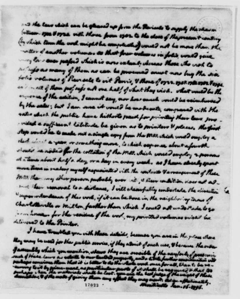 Thomas Jefferson to George Wythe, January 16, 1796, with Copy