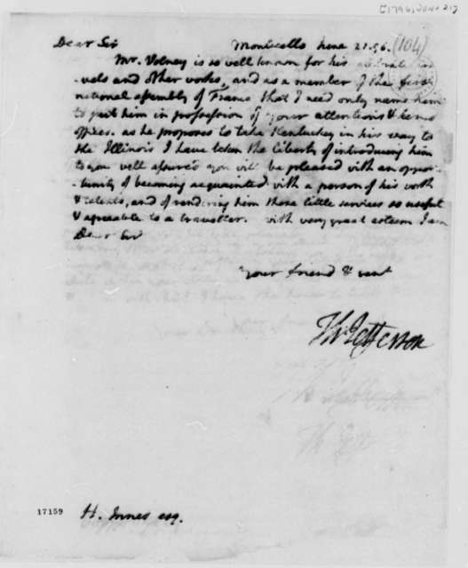 Thomas Jefferson to Harry Innes, June 21, 1796