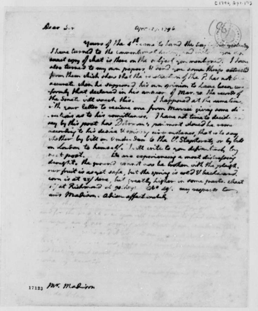 Thomas Jefferson to James Madison, April 17, 1796