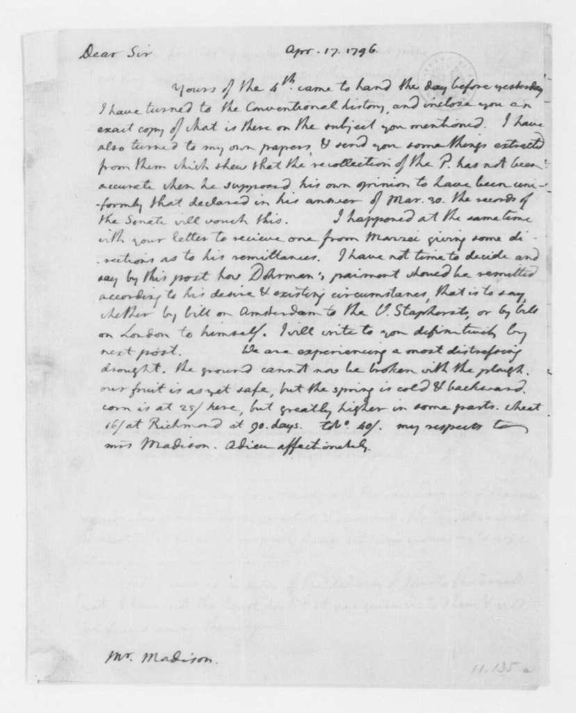 Thomas Jefferson to James Madison, April 17, 1796. enclosed documents pertaining to the Morocco Treaty.