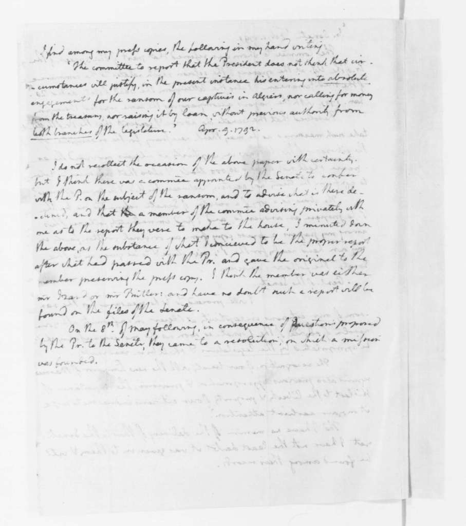 Thomas Jefferson to James Madison, April 17, 1796. enclosed documents pertaining to the Morocco Treaty.