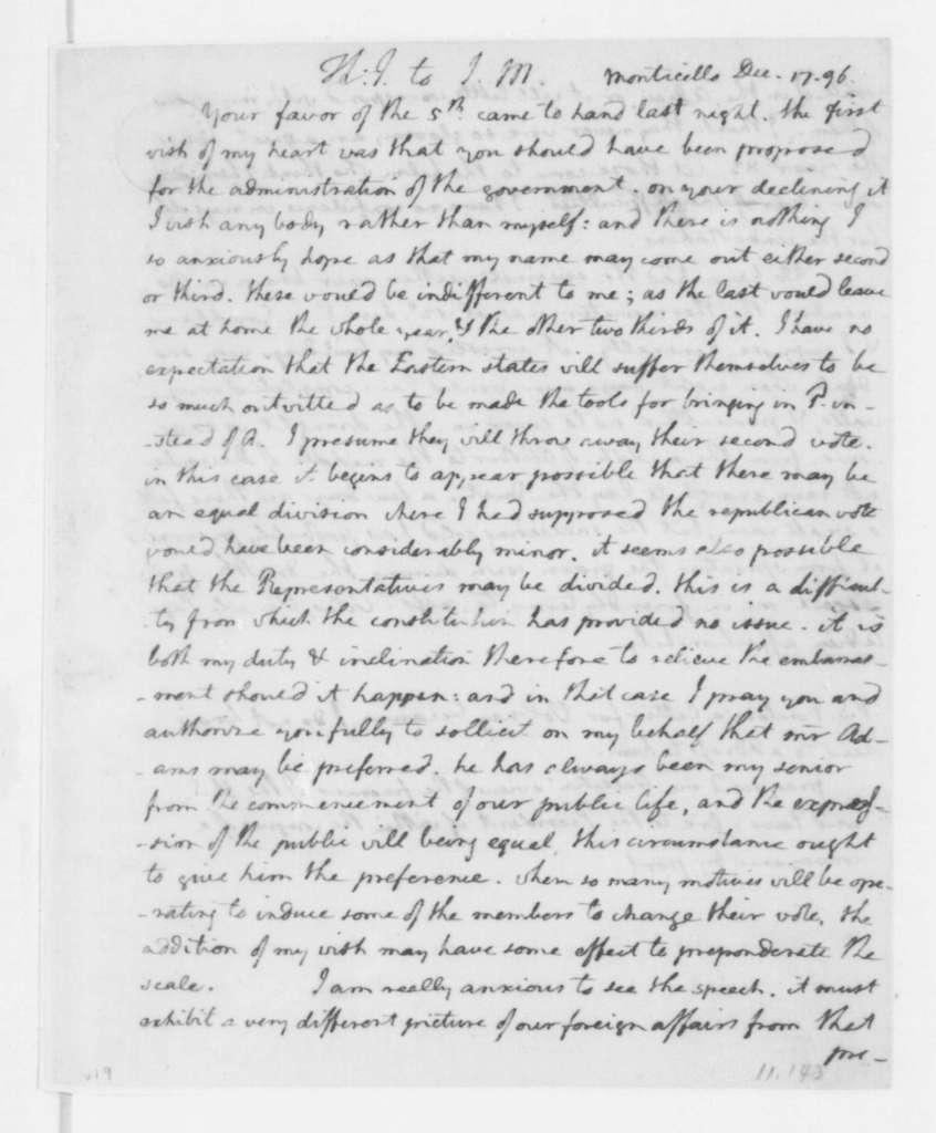 Thomas Jefferson to James Madison, December 17, 1796.