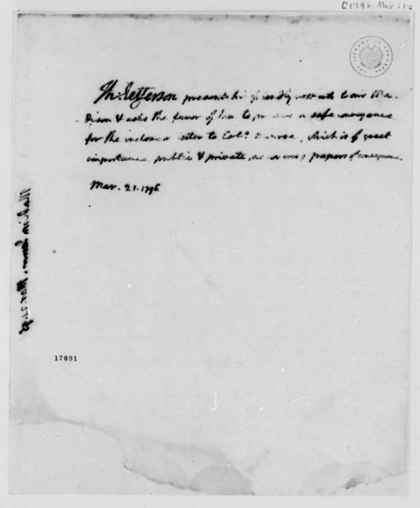 Thomas Jefferson to James Madison, March 21, 1796