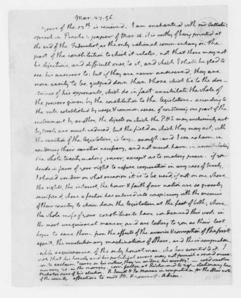 Thomas Jefferson to James Madison, March 27, 1796.