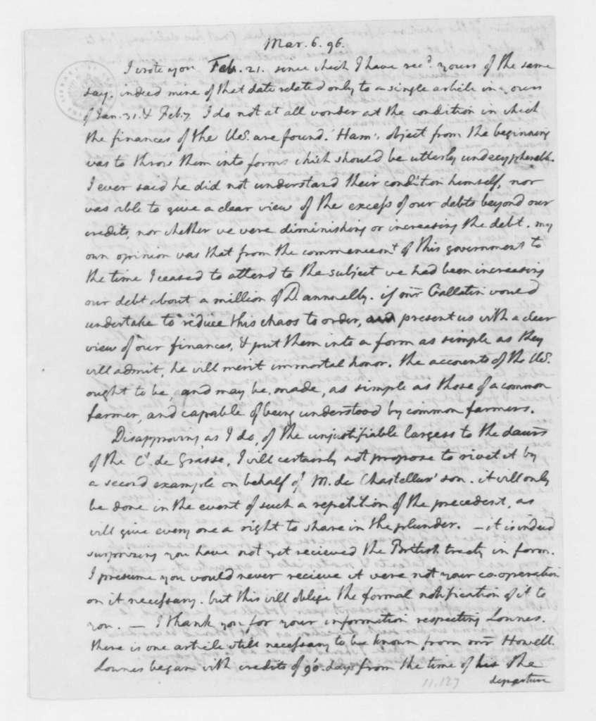 Thomas Jefferson to James Madison, March 6, 1796.