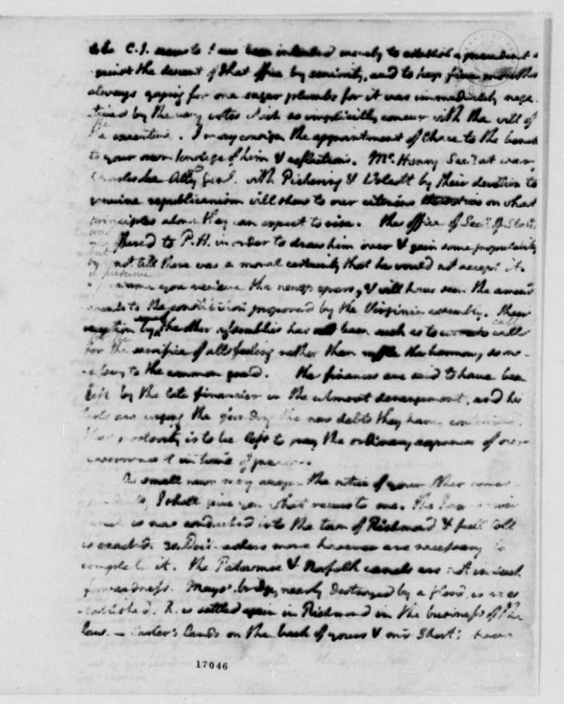 Thomas Jefferson to James Monroe, March 2, 1796, Partly Illegible