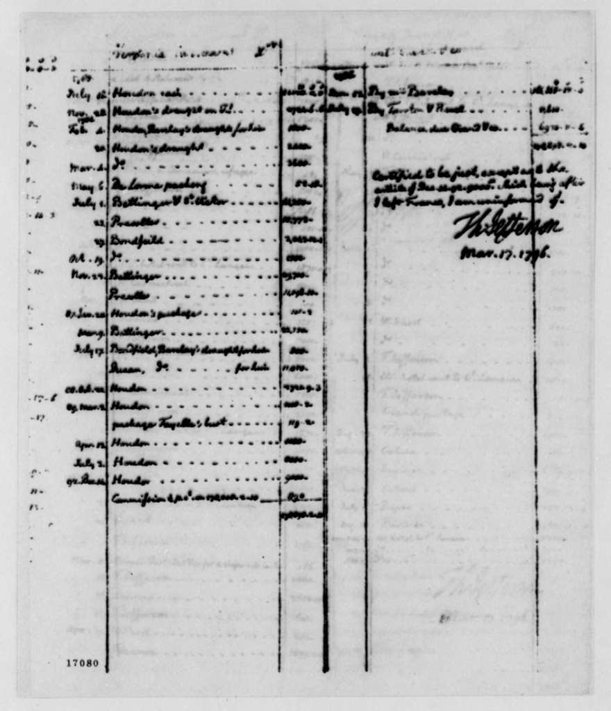 Thomas Jefferson to Jean Antoine Gautier, March 17, 1796, with Account