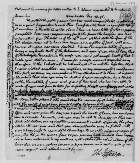 Thomas Jefferson to John Adams, December 28, 1796