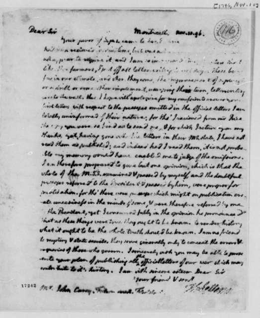 Thomas Jefferson to John Carey, November 10, 1796