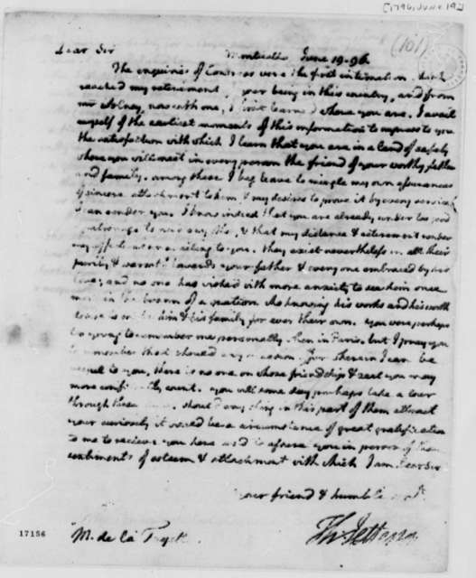 Thomas Jefferson to Marie Joseph Paul Yves Roch Gilbert du Motier, Marquis de Lafayette, June 19, 1796