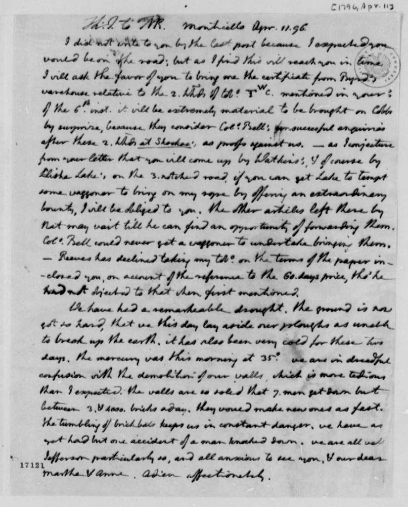 Thomas Jefferson to Thomas Mann Randolph, Jr., April 11, 1796