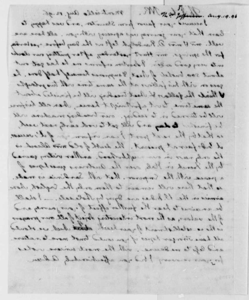 Thomas Jefferson to Thomas Mann Randolph, Jr., August 12, 1796