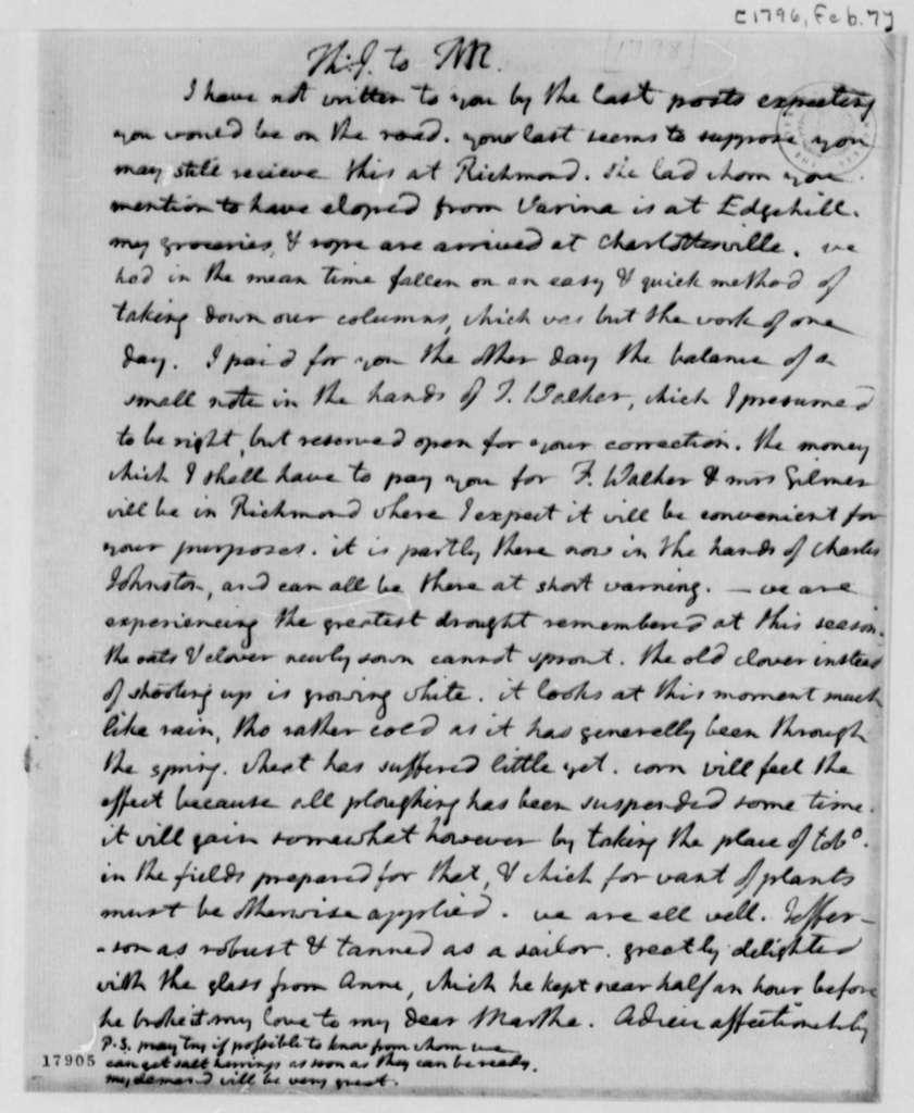 Thomas Jefferson to Thomas Mann Randolph, Jr., February 7, 1796