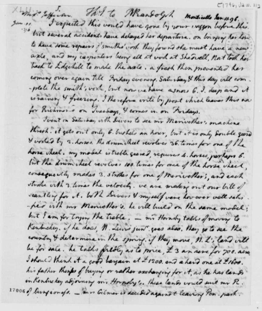 Thomas Jefferson to Thomas Mann Randolph, Jr., January 11, 1796