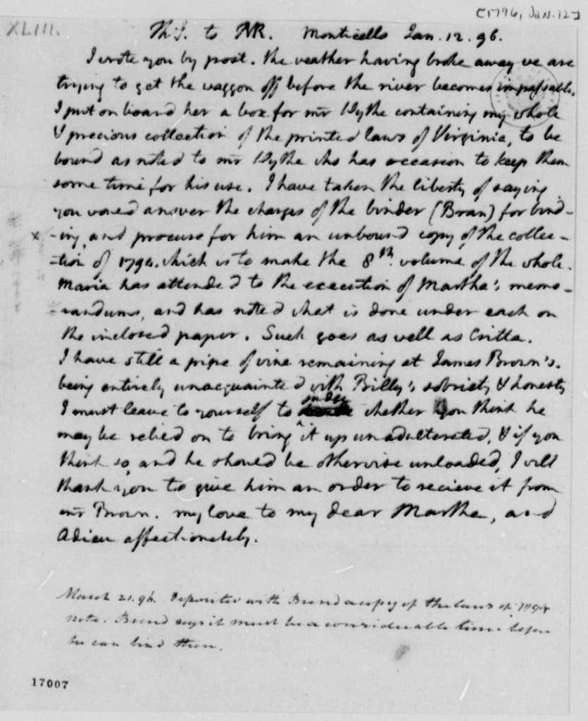 Thomas Jefferson to Thomas Mann Randolph, Jr., January 12, 1796