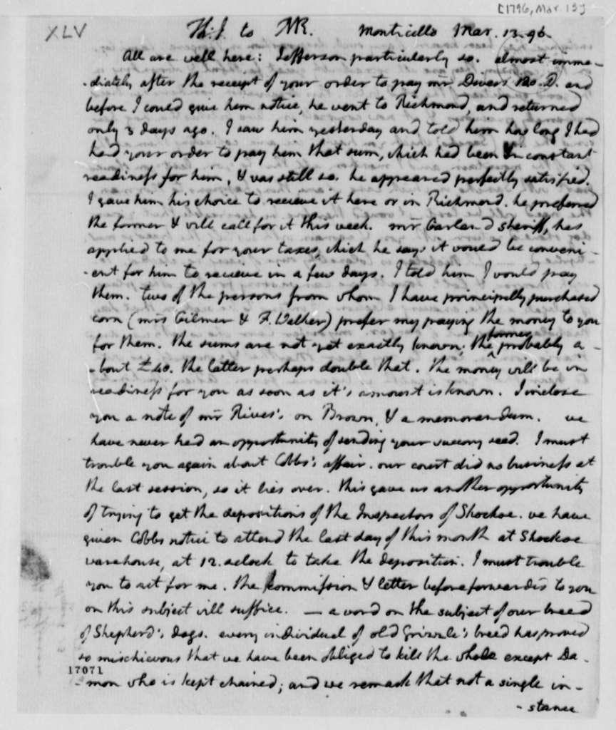 Thomas Jefferson to Thomas Mann Randolph, Jr., March 13, 1796