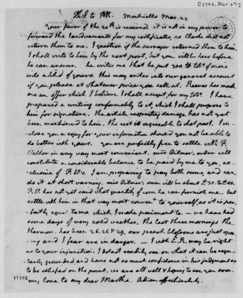 Thomas Jefferson to Thomas Mann Randolph, Jr., March 27, 1796