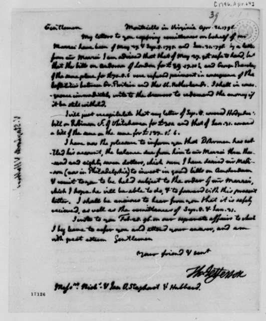 Thomas Jefferson to Van Staphorst & Hubbard, April 24, 1796