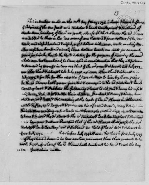 Thomas Jefferson to Van Staphorst & Hubbard, May 12, 1796, Deed