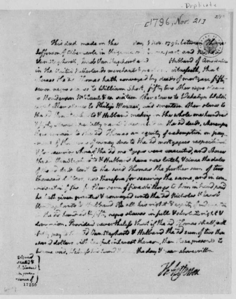 Thomas Jefferson to Van Staphorst & Hubbard, November 21, 1796, Deed and Copy
