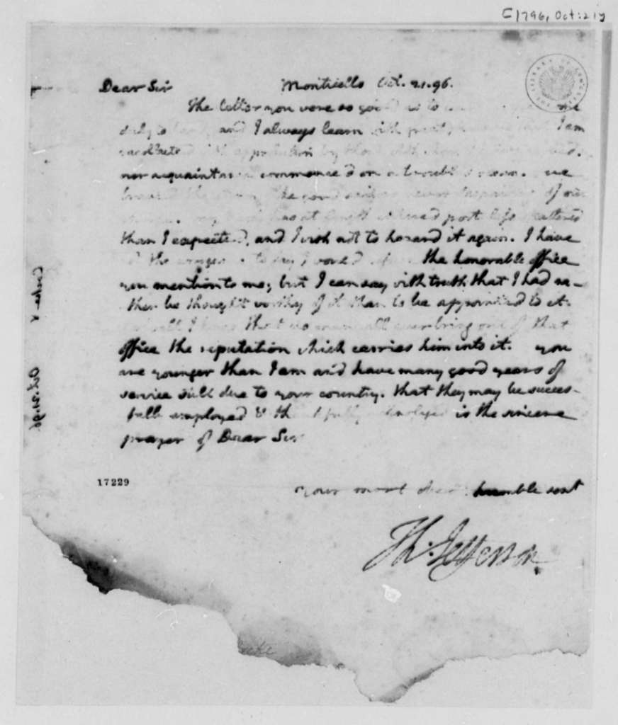 Thomas Jefferson to William Cocke, October 21, 1796, Partly Illegible