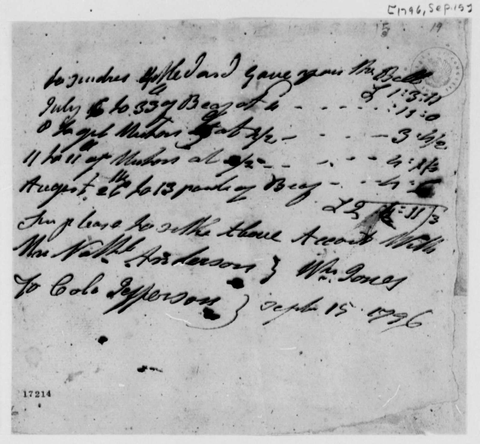 Thomas Jefferson to William Jones and Nathaniel Anderson, September 15, 1796, Account